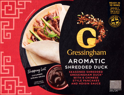 Crispy Aromatic Shredded Duck With Pancakes Hoisin Sauce Gressingham
